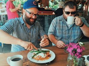 Enjoying eggs benedict at Tweets and quesadilla at Mariposa. PHOTOS BY RYAN RUSSELL