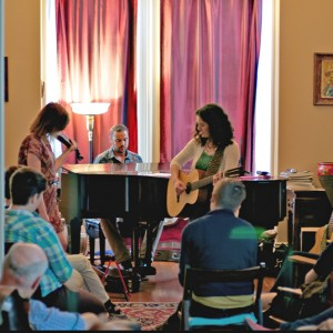Playing a house show in San Francisco. COURTESY PHOTO