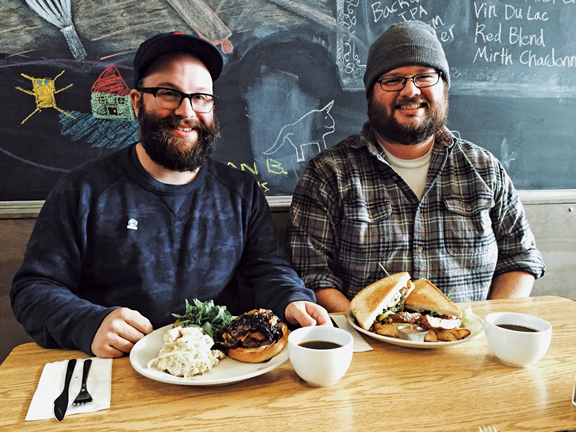 Enjoying the 3B Burger with bacon, blue cheese and blueberry onion compote, and Grilled Meatloaf Sandwich. PHOTO BY RYAN RUSSELL